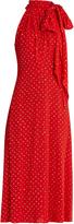 Saint Laurent Glitter-plumetis silk-georgette dress