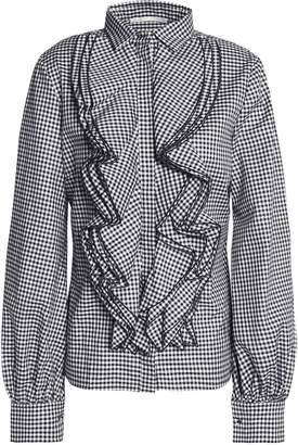 Antonio Berardi Ruffled Gingham Cotton Shirt