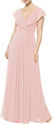 #Levkoff Ruffle V-Neck Wrap Gown