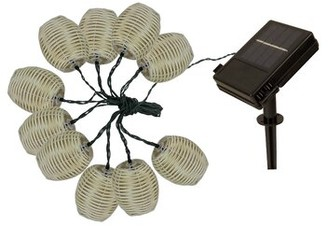 August Grove Rambo 15' Outdoor LED Solar Powered 10 - Bulb Shaded String Light
