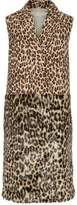 Stella McCartney Paneled Leopard-Print Wool-Blend And Faux Fur Vest