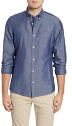 Nordstrom Trim Fit Chambray Button-Down Sport Shirt