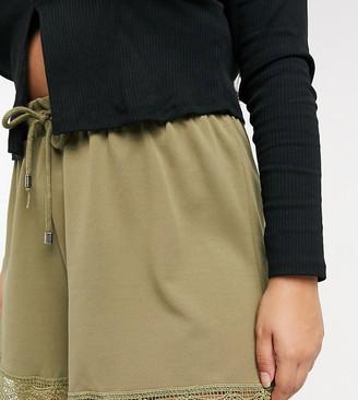Junarose lace trim shorts in khaki