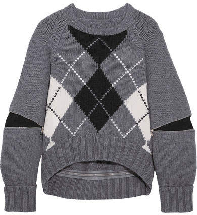 Alexander McQueen Oversized Zip-detailed Argyle Wool Sweater - Gray