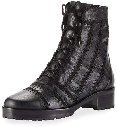 Alexandre Birman Regina Crocheted Leather Combat Boot