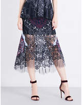 Jonathan Simkhai Two-tone high-rise lace skirt