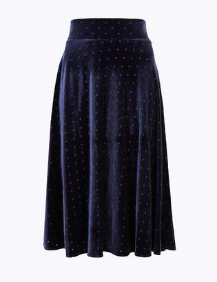 Marks and Spencer Velvet Polka Dot Jersey Slip Midi Skirt