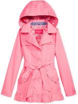London Fog Hooded Ruffle Trench Coat, Big Girls (7-16)