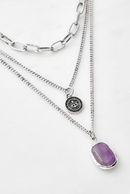 Urban Outfitters Boho Chunky Multi-Layer Necklace - Silver ALL at