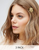 Asos Pack of 3 Metallic Flower Hair Clips