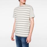 Paul Smith Men's Grey And Ecru Stripe Cotton T-Shirt