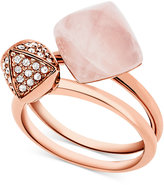 Michael Kors Rose Gold-Tone 2-Pc. Set Stone and Pavé Stacking Rings