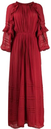 Etoile Isabel Marant Embroidered Flared Maxi Dress