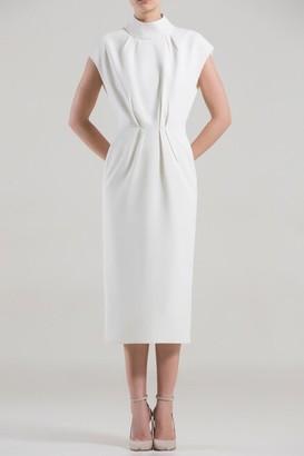 Saiid Kobeisy Cap Sleeve High Neck Midi Dress