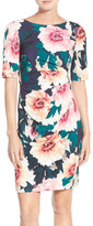 Eliza J Exploding Floral Print Jersey Sheath Dress (Petite)