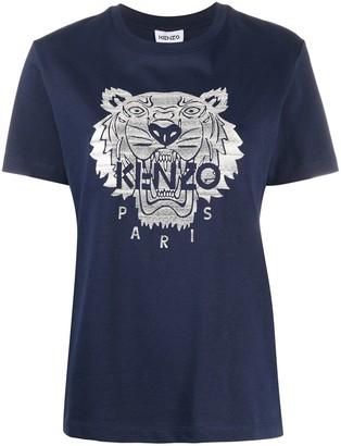 Kenzo Logo Embroidery Cotton T-Shirt