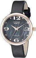 Burgi Women's BUR119BKR Diamond Accented Black Mother-of-Pearl Rose Gold & Black Leather Strap Watch