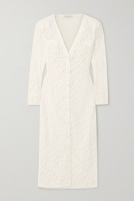 Alessandra Rich Corded Lace Midi Dress - White
