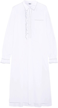 Sleepy Jones Cornett Ruffled Embroidered Cotton Nightdress