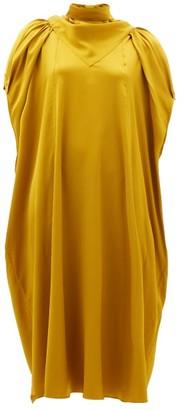 Ssōne Ssone - Apex Gathered-sleeve Charmeuse Midi Dress - Womens - Gold