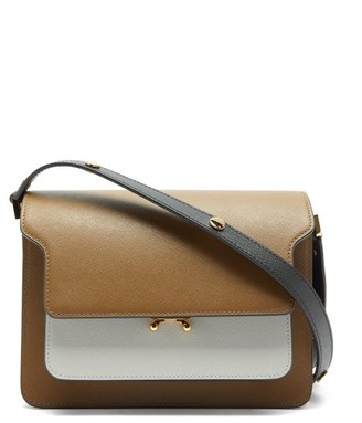 Marni Trunk Medium Saffiano-leather Bag - Brown Multi