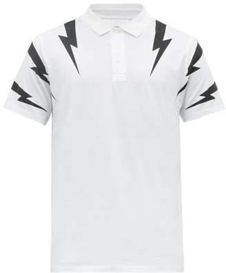 Neil Barrett Thunderbolt-print Cotton Polo Shirt - Mens - White Black