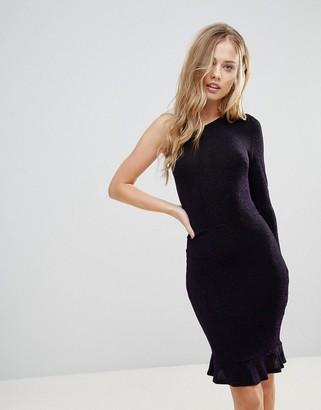Oh My Love One Shoulder Pephem Bodycon Dress