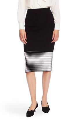 Court & Rowe Stripe Hem Cotton & Wool Blend Knit Pencil Skirt