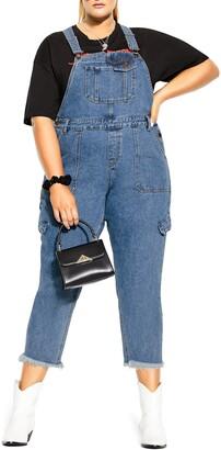 City Chic Jean Wild Straight Leg Crop Overalls