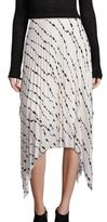 Helmut Lang Silk Pleated Printed Skirt