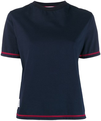 Thom Browne contrast cover stitch side slit T-shirt
