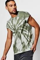 boohoo Tie Dye T Shirt With Cap Sleeve khaki