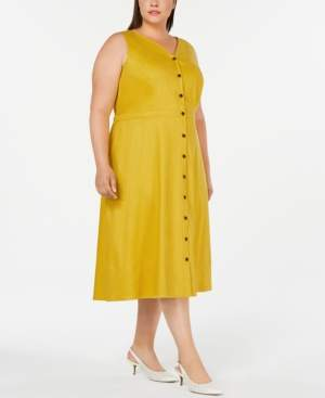 Alfani Plus Size Button-Front Fit & Flare Dress, Created for Macy's