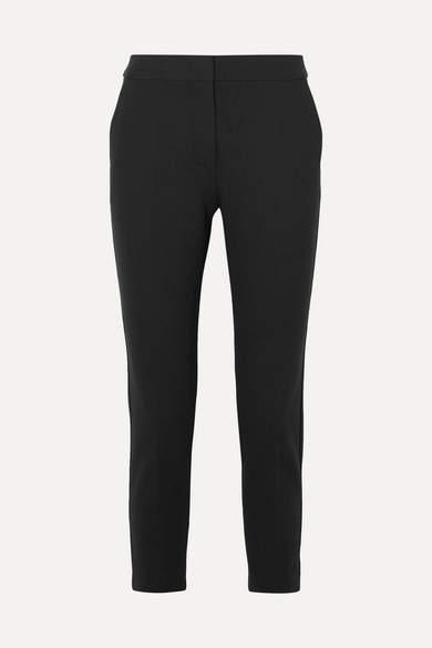 Max Mara Pegno Cropped Stretch-cady Slim-leg Pants - Black