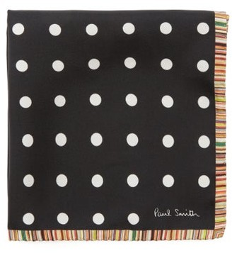 Paul Smith Polka-dot Silk-faille Pocket Square - Black