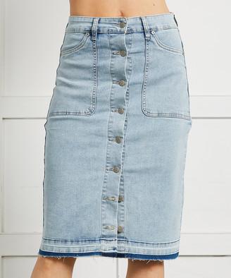 Suzanne Betro Women's Denim Skirts 101LIGHT - Light Wash Button-Front Denim Skirt - Women & Plus