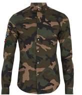 Valentino Tattoo-appliqué Camouflage-print Cotton Shirt