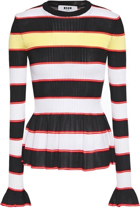 MSGM Ruffle-trimmed Striped Ribbed-knit Peplum Sweater