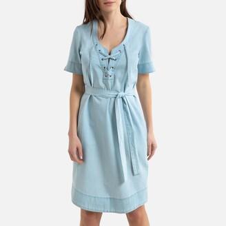 Anne Weyburn Denim Shift Dress with Short Sleeves