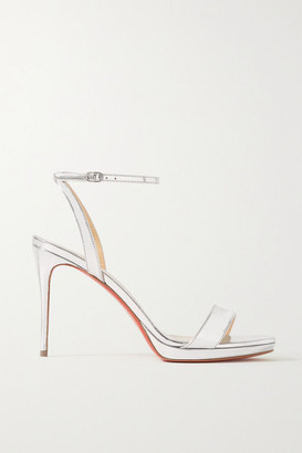Christian Louboutin Loubi Queen 100 Metallic Patent-leather Sandals - Silver