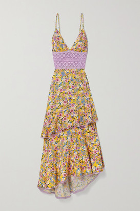 Charo Ruiz Ibiza Mara Crochet-trimmed Ruffled Floral-print Voile Maxi Dress - Yellow