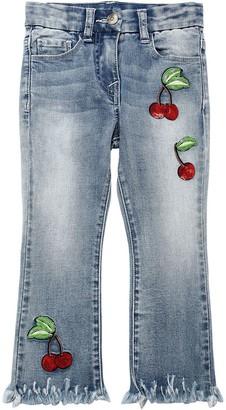 MonnaLisa Stretch Cotton Denim Jeans W/ Cherries
