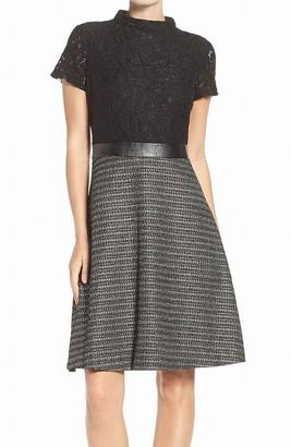 Ellen Tracy Women's Luxe Tweed Lace Combo Dress