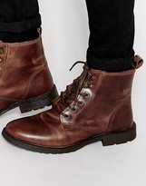 Jack & Jones Crust Leather Boots - Brown
