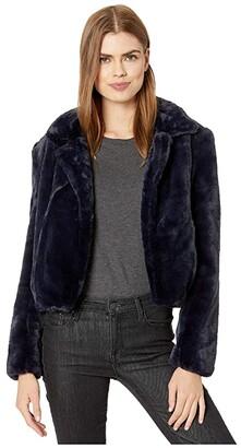 Blank NYC Faux Fur Cropped Jacket in Open Seas (Navy Blue) Women's Clothing