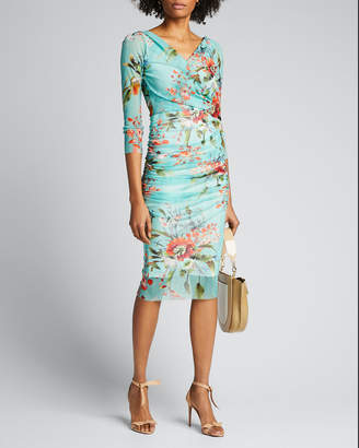 Fuzzi Floral-Print 3/4-Sleeve Ruched Bodycon Dress