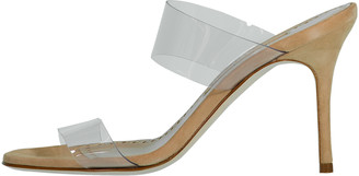 Manolo Blahnik Scolto PVC Slip-On Sandals