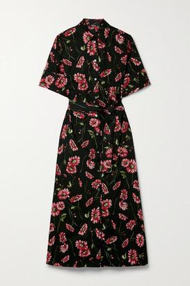 Adam Lippes Floral-print Cotton-poplin Midi Shirt Dress - Black