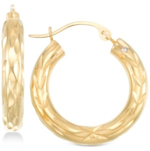 Signature Gold Diamond Cut Small Hoop Earrings in 14k Gold over Resin