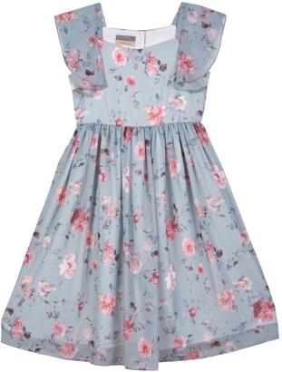 Pippa & Julie Flutter Sleeve Floral Print Dress